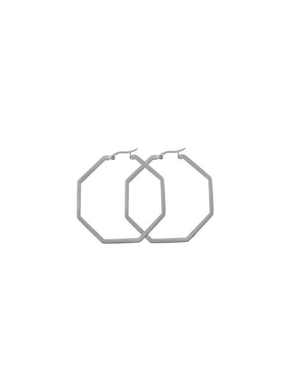 Silver Octagonal Hoops