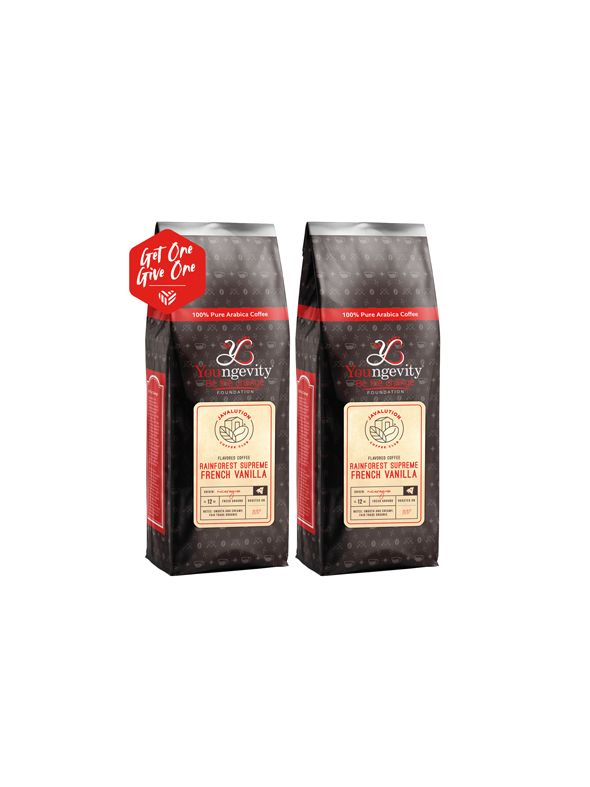 Javalution Club French Vanilla Flavored Rainforest Supreme Coffee Limited Edition—Nicaaragua Ground (12oz) [QTY: 2   Get One, Give One FREE]